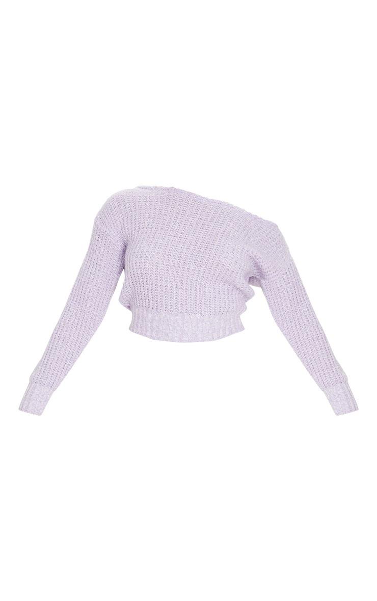Lilac Two Tone Off Shoulder Crop Jumper 5
