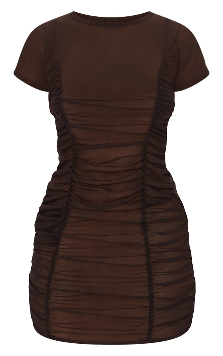 Chocolate Mesh Ruched Short Sleeve Bodycon Dress 5