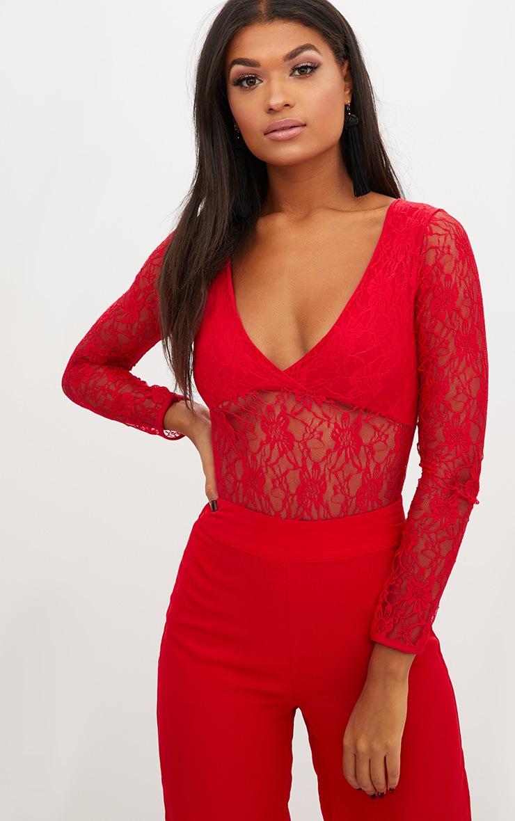 Red Lace V Neck Longsleeve Thong Bodysuit 2