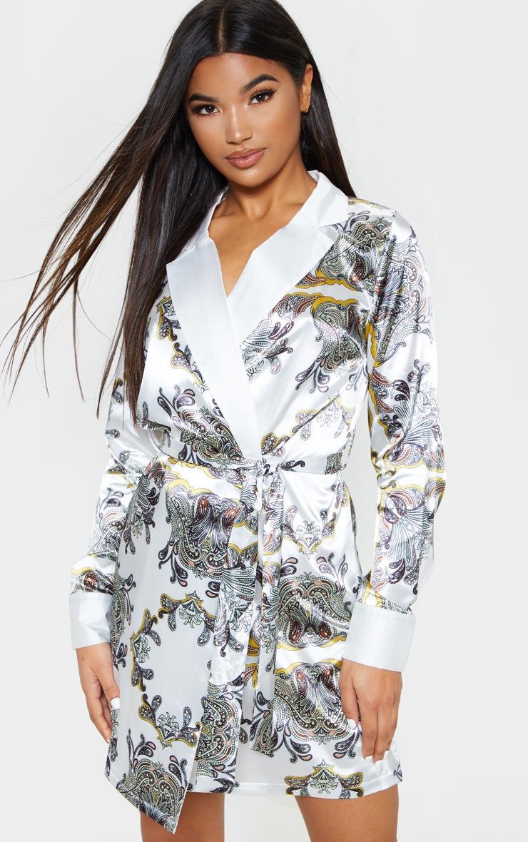 White Paisley Blazer Dress 1