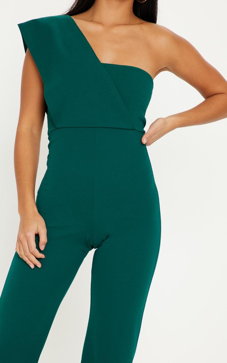 Petite Emerald Green Drape One Shoulder Jumpsuit 5