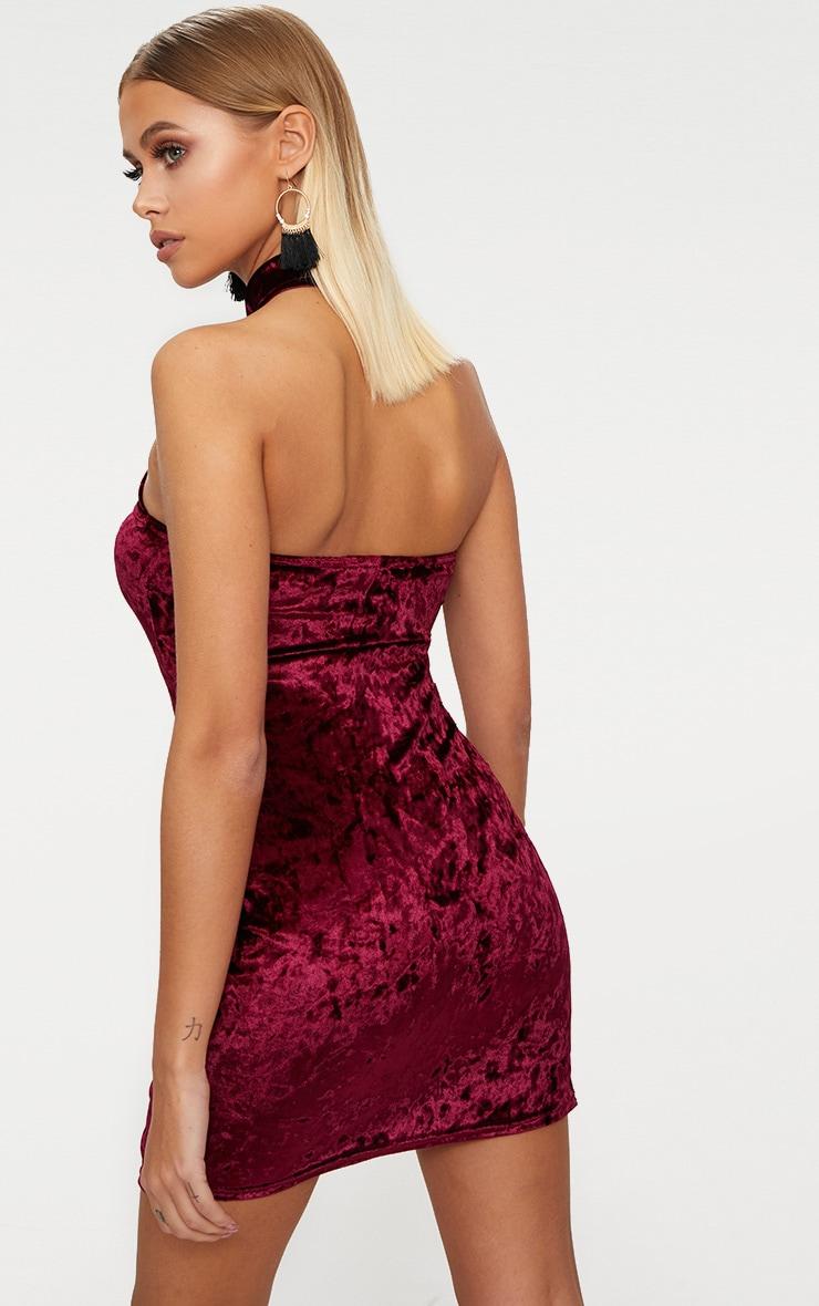 Burgundy Velvet Cross Neck Cut Out Bodycon Dress 2