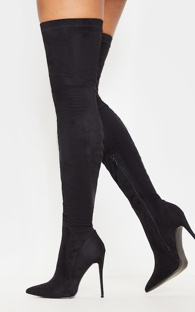 43b959492e8 Emmi Black Faux Suede Extreme Thigh High Heeled Boots