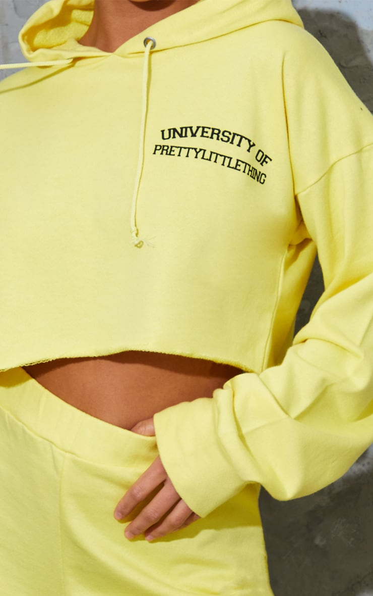 PRETTYLITTLETHING Petite Yellow Cropped Hoodie 4
