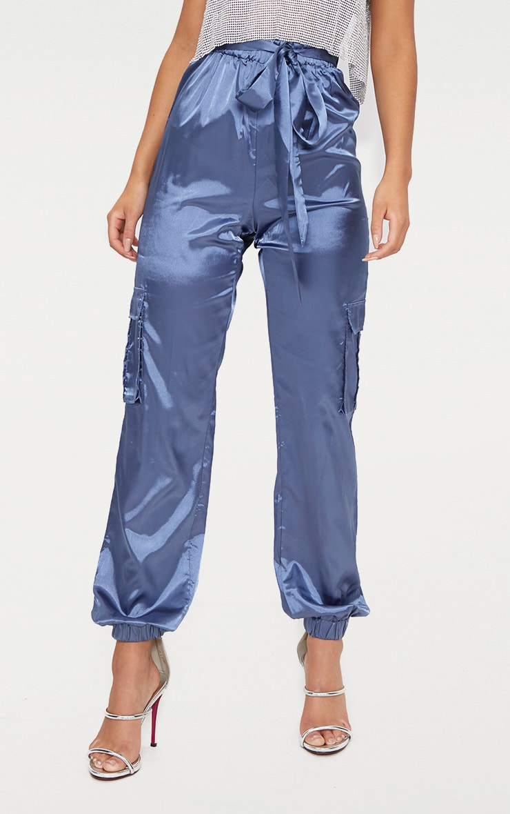 Powder Blue Satin Cargo Trousers 2