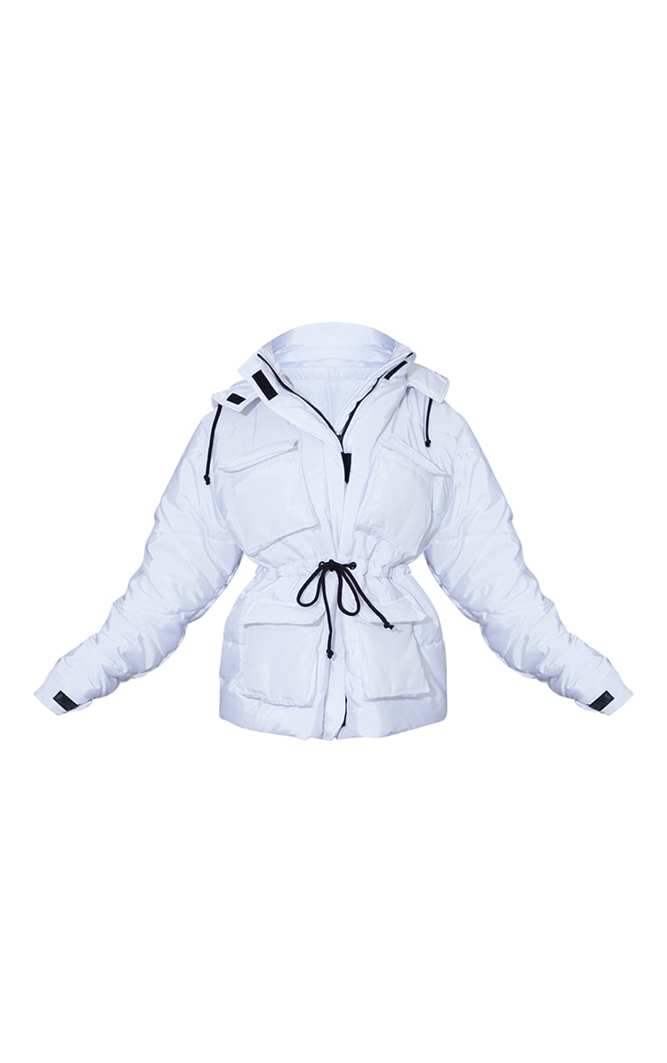 White Nylon Drawstring Pocket Front Puffer Jacket 5