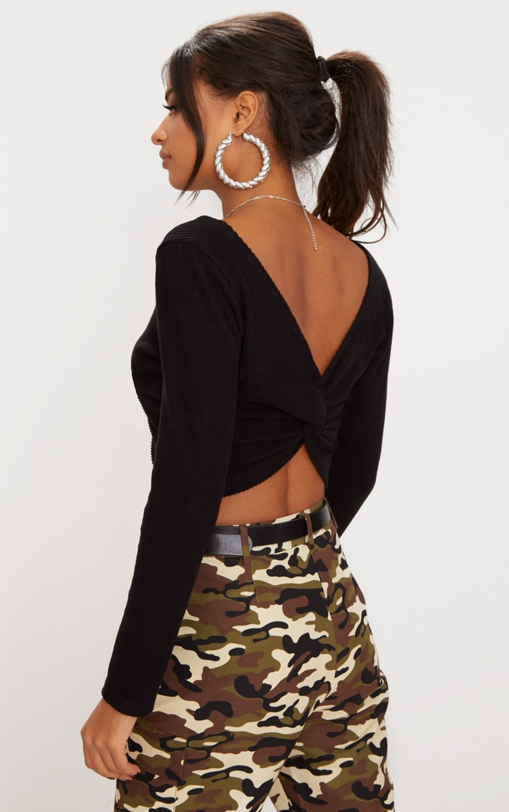 Black Brushed Rib Twist Front Crop Sweater 2
