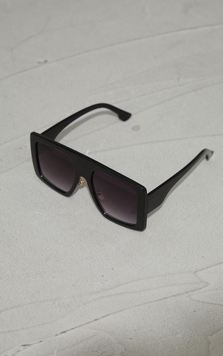 Black Recycled Plastic Oversized Back Frame Sunglasses 2