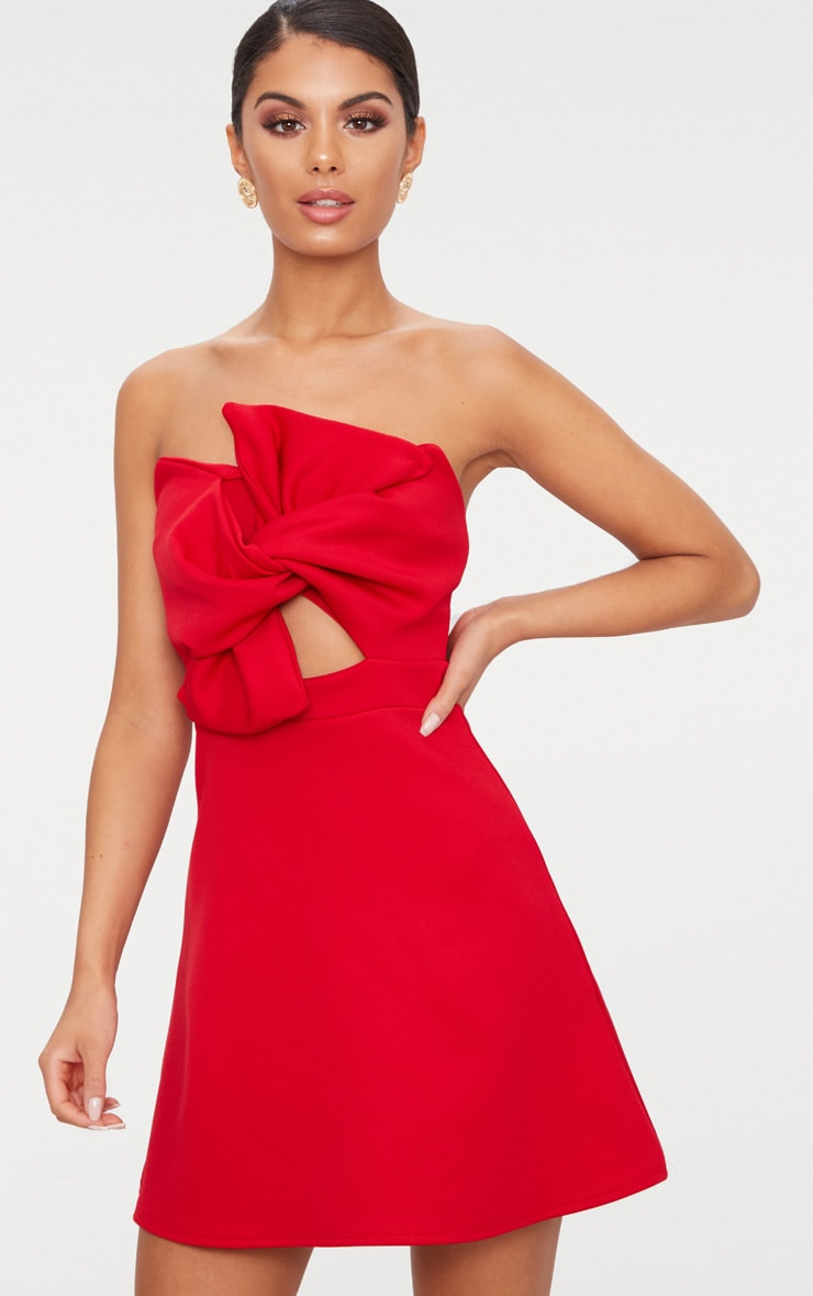 Red Bow Detail Scuba Skater Dress 1