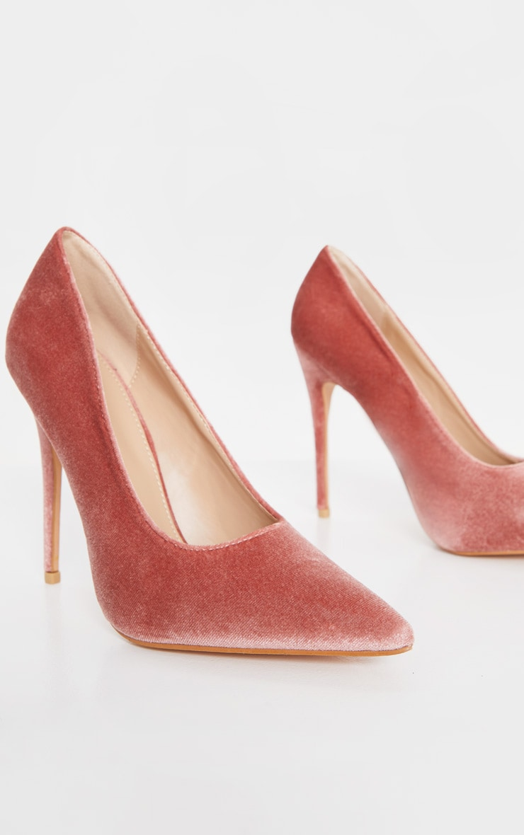Blush Velvet Court Shoes 5