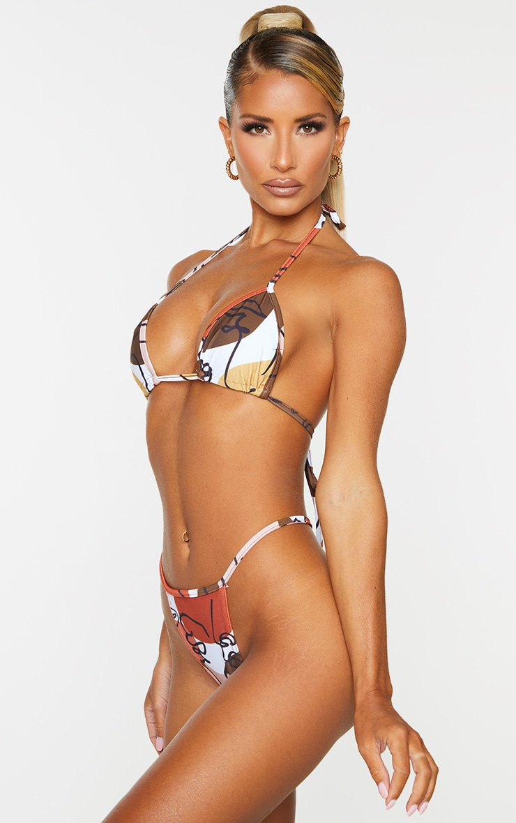 Brown Abstract Face Silhouette Bikini Bottoms 2