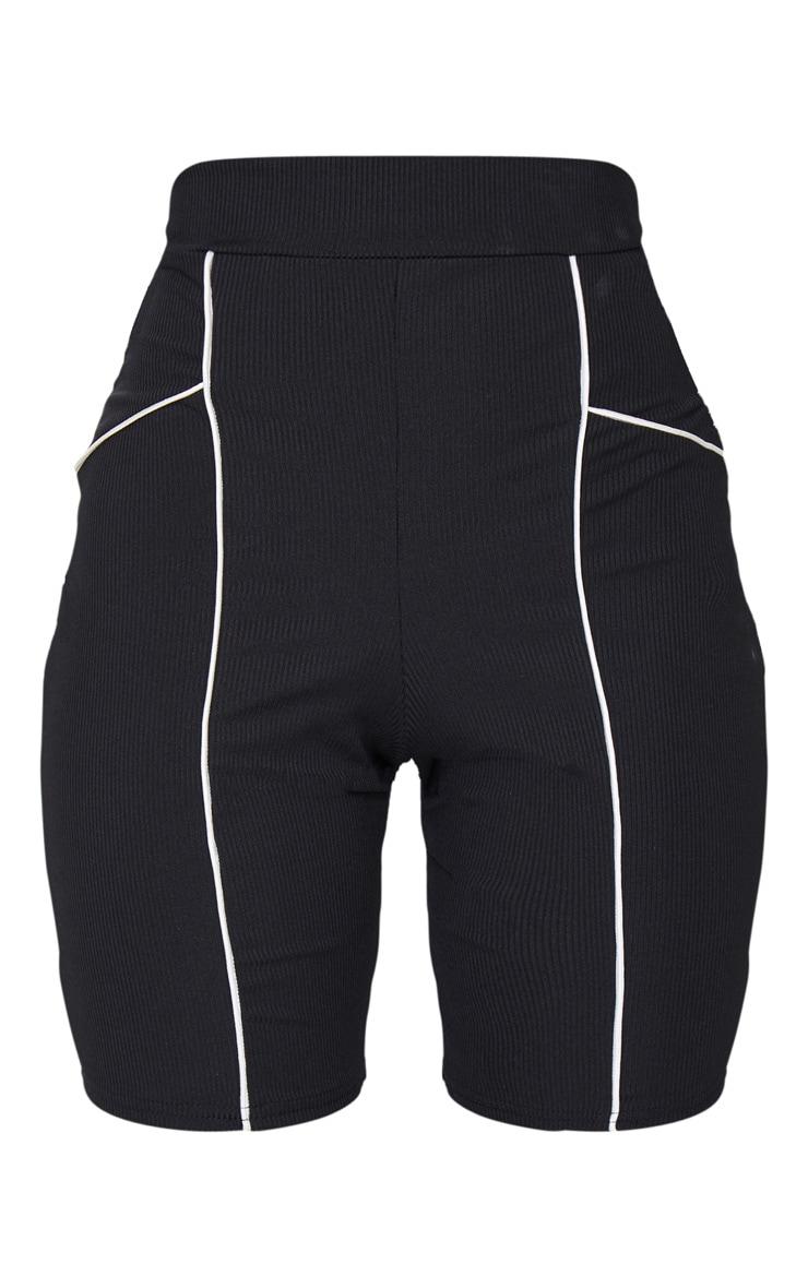 Black Rib Binding Detail Bike Shorts 6