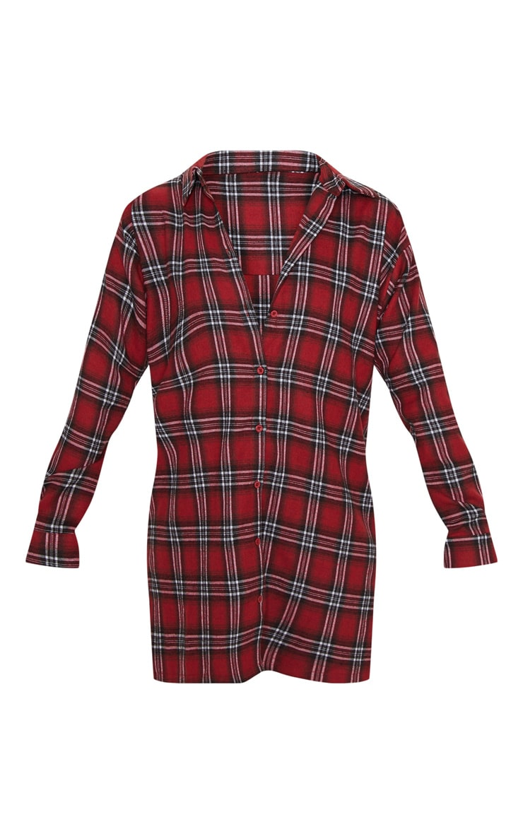 Red Oversized Split Hem Checked Shirt Dress 3