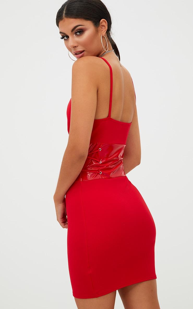 Red Corset Detail PU Bodycon Dress 2