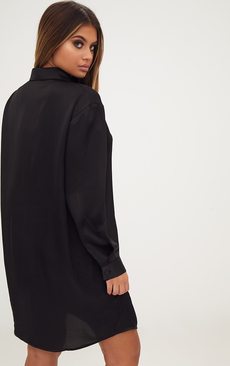 Black Extreme Oversized Satin Shirt Dress 4