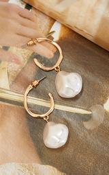Gold Pearl Drop Hoop Earrings 3