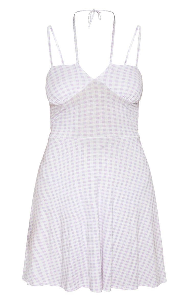 Lilac Gingham Tie Front Skater Dress 3