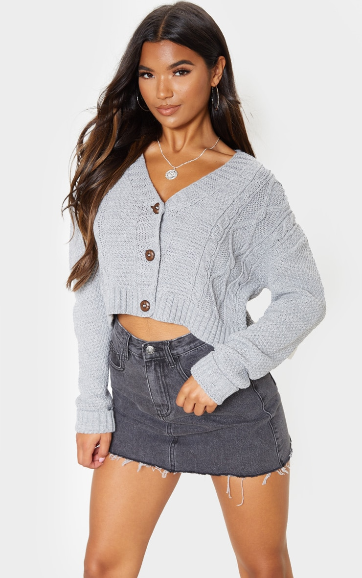 Light Grey Cable Cropped Cardigan 1