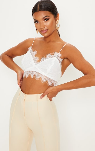 62034b57bf6dd Amelie White Tie Back Lace Bralet