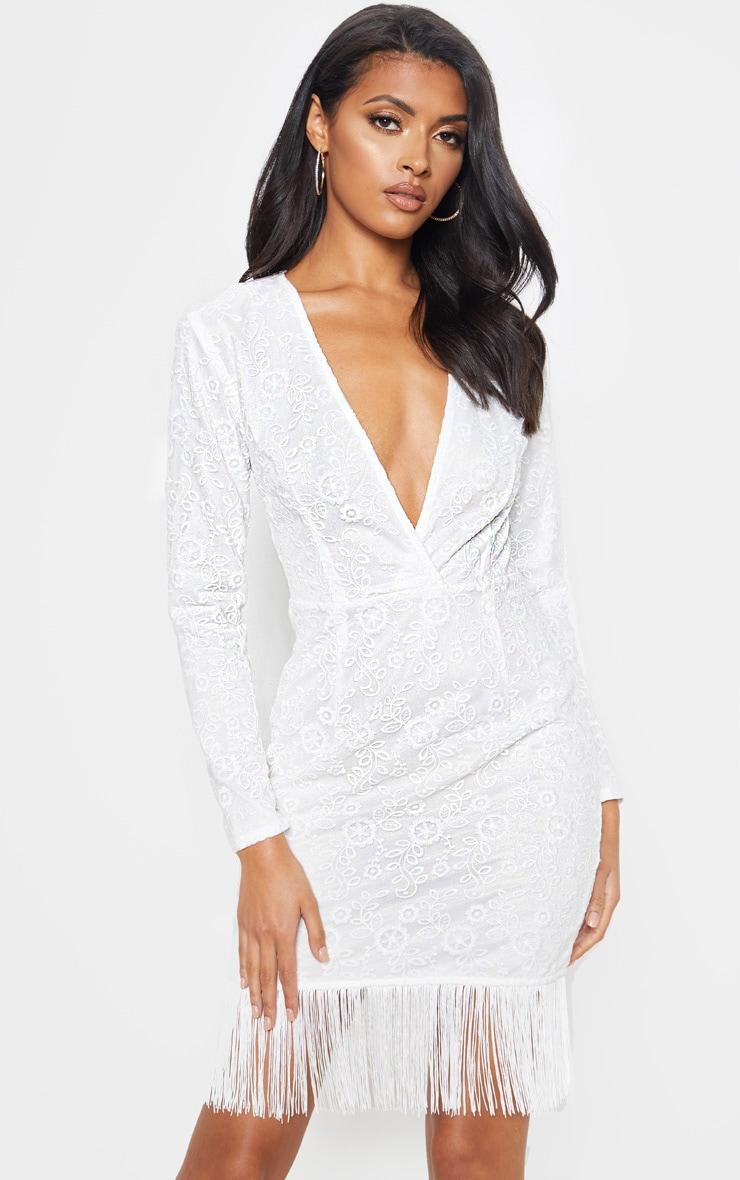 White Lace Tassel Hem Bodycon Dress 1
