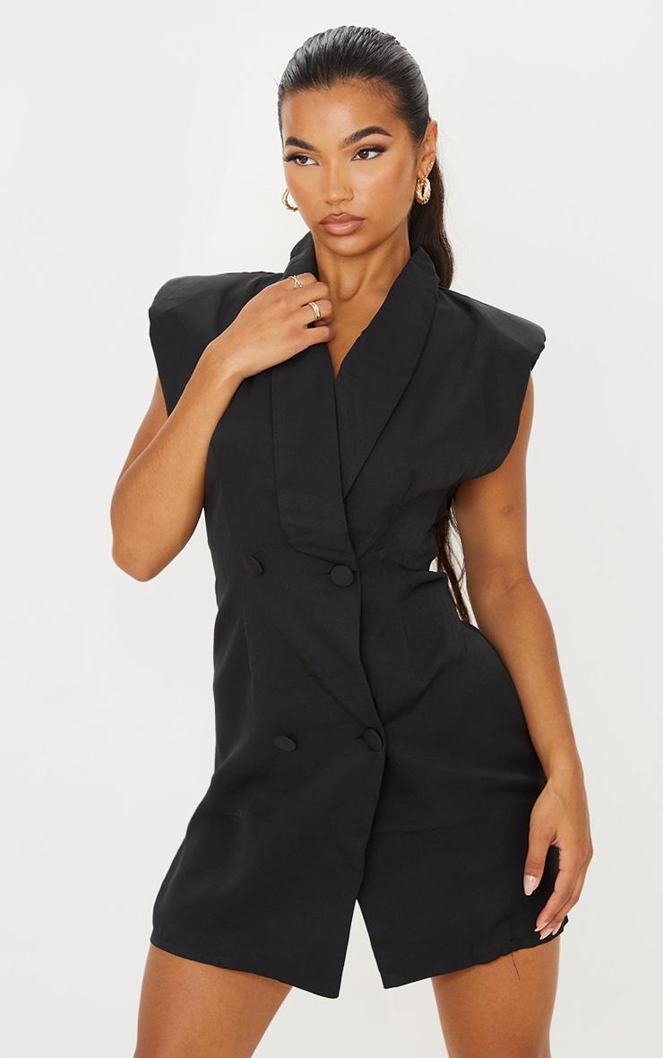 Black Sleeveless Shoulder Pad Blazer Dress 1