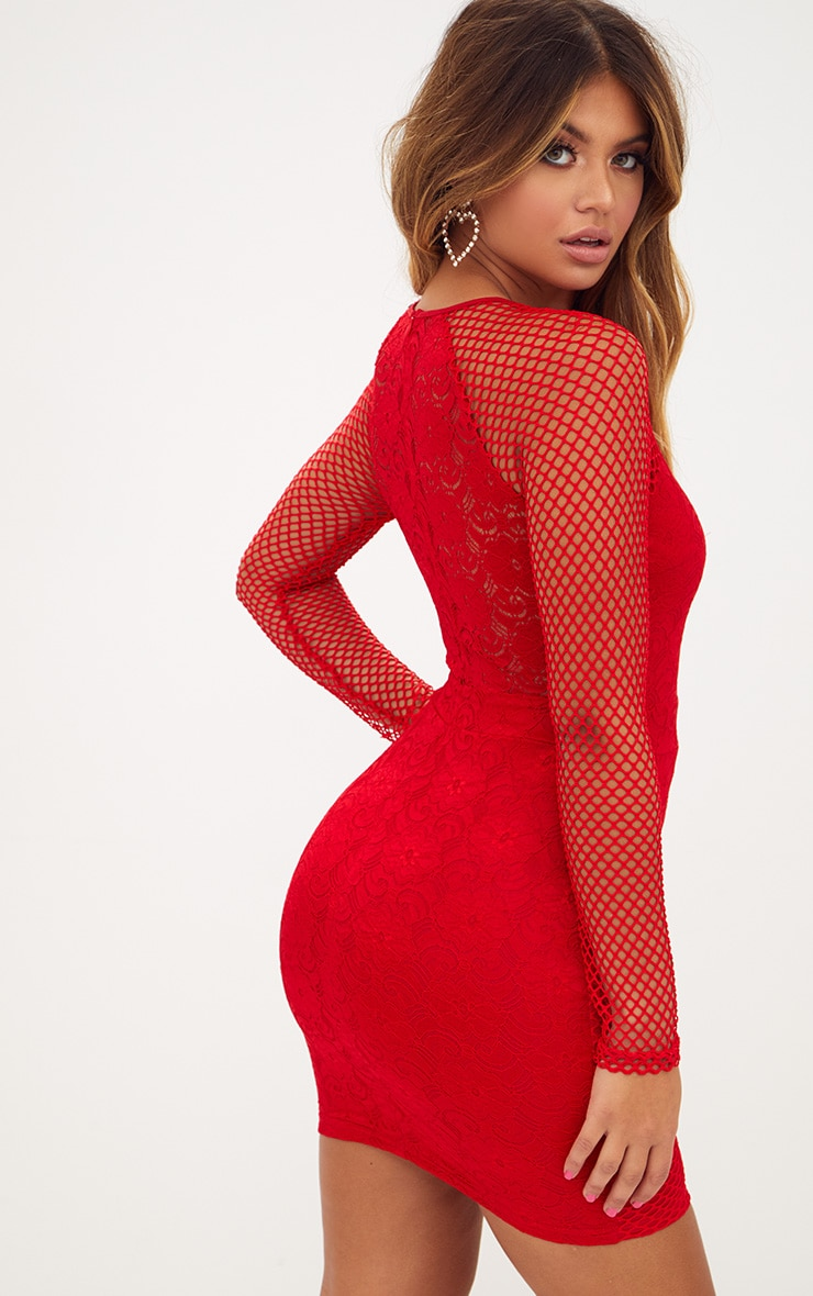 Red Long Sleeved Panelled Lace Bodycon Dress  2