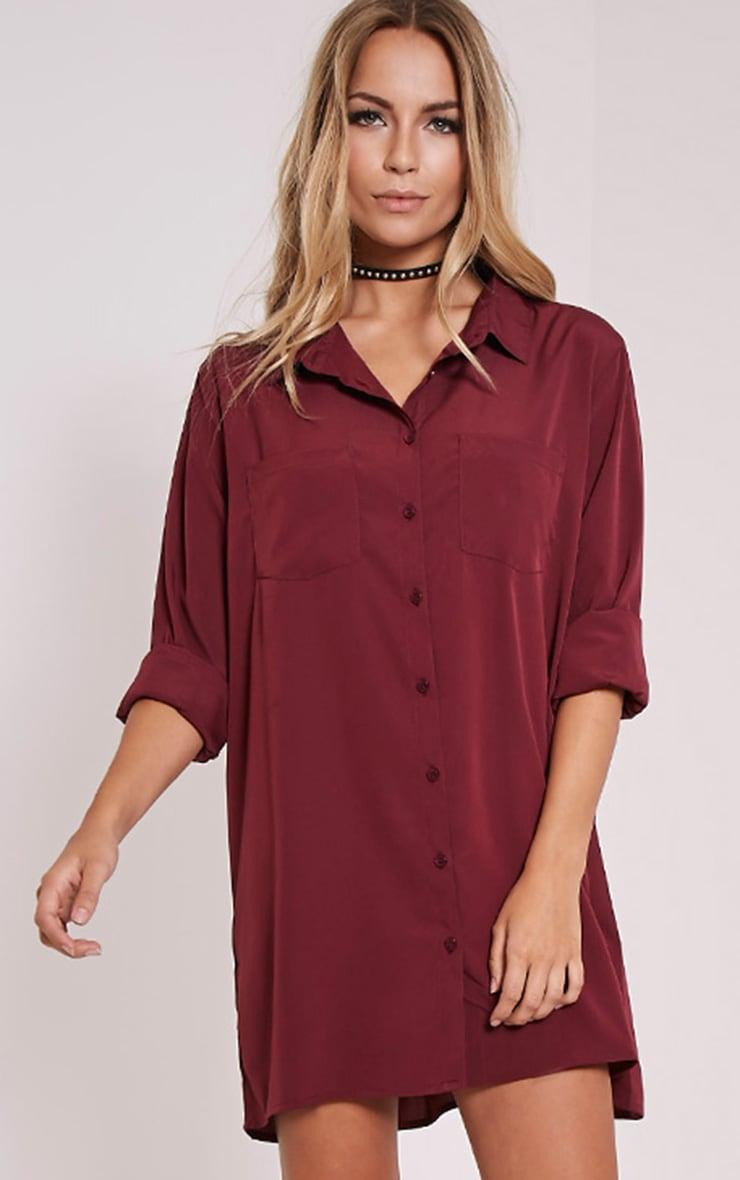 Effy Oxblood Shirt Dress 1