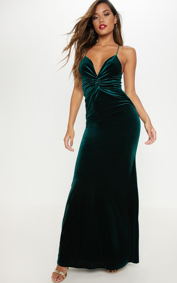 Emerald Green Velvet Knot Front Maxi Dress
