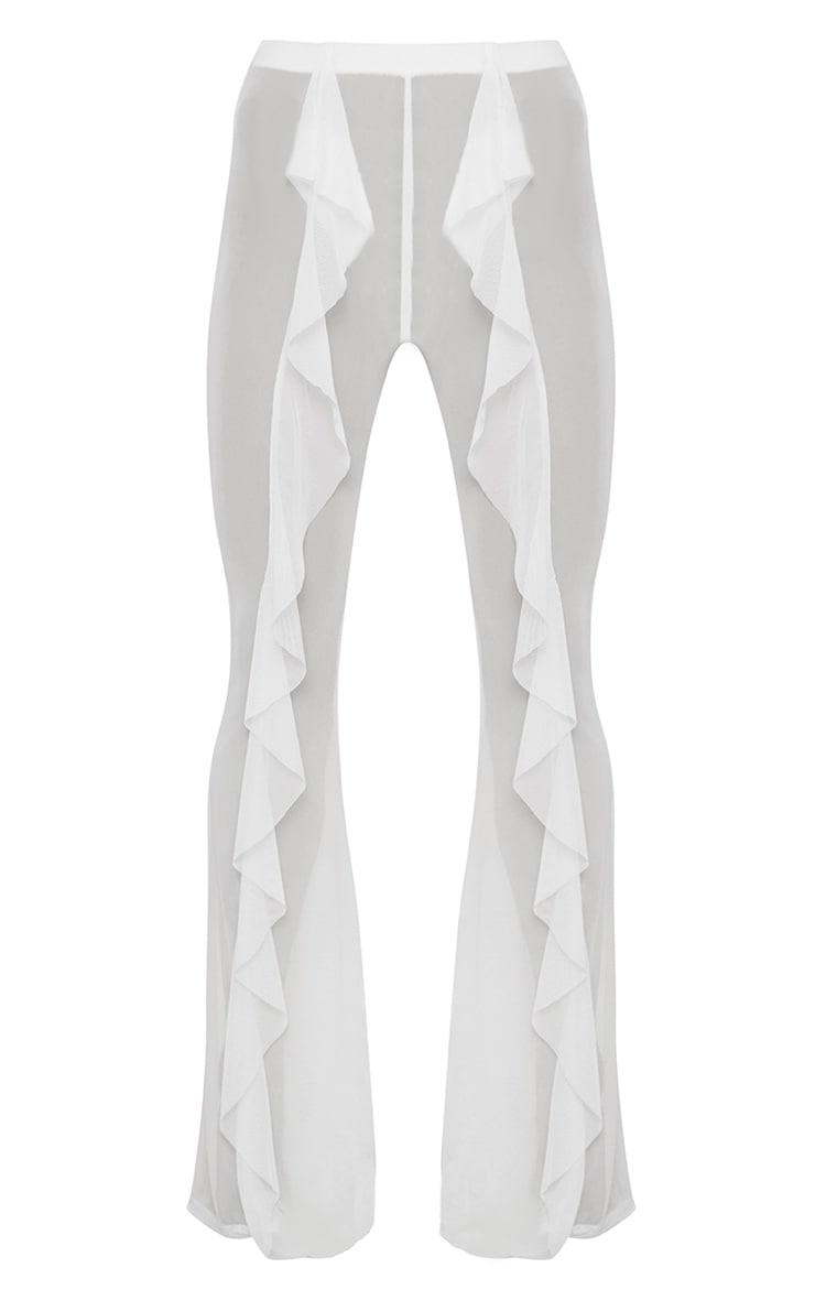White Frill Front Mesh Beach Trouser 3