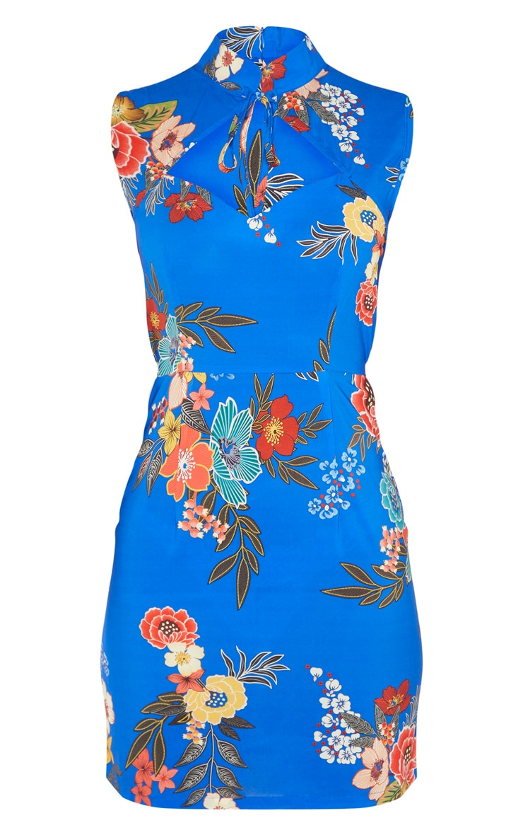 Cobalt Oriental Print Satin High Neck Keyhole Detail Bodycon Dress 3