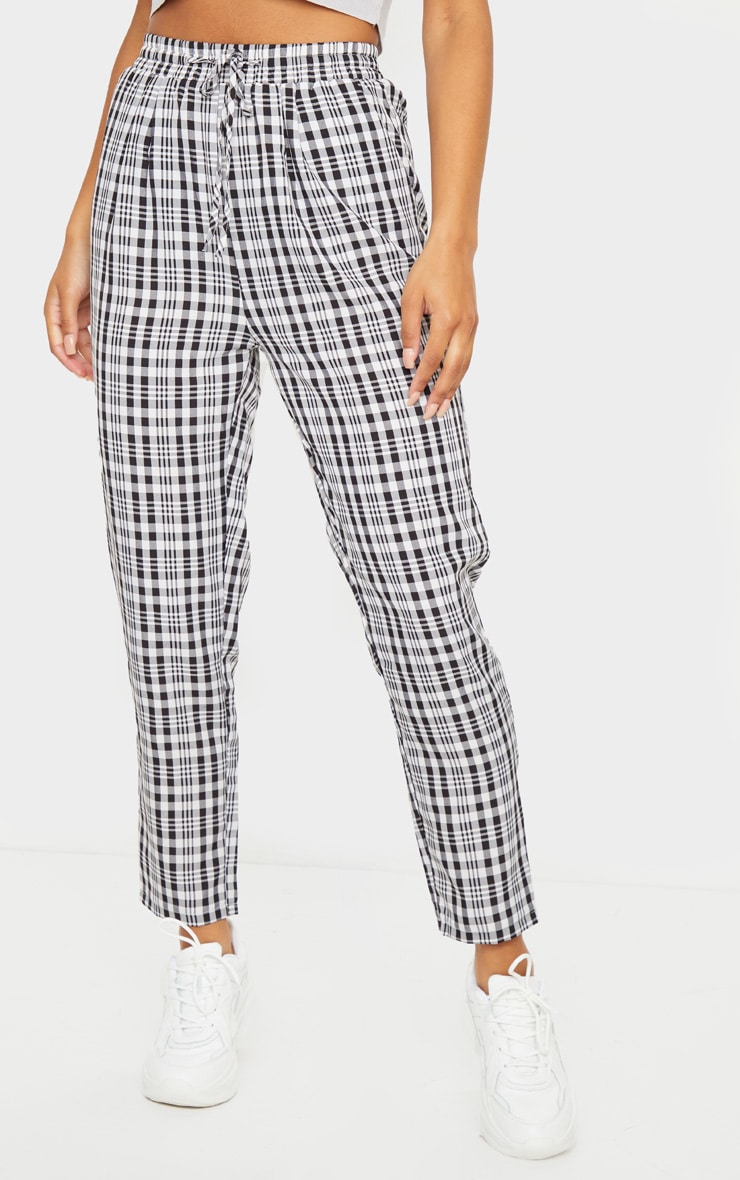White Check Diya Casual Cigarette Trousers 2