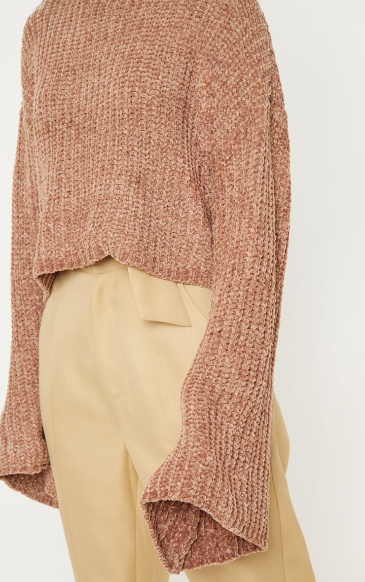 Camel Chenille Cropped High Neck Knitted Sweater  5