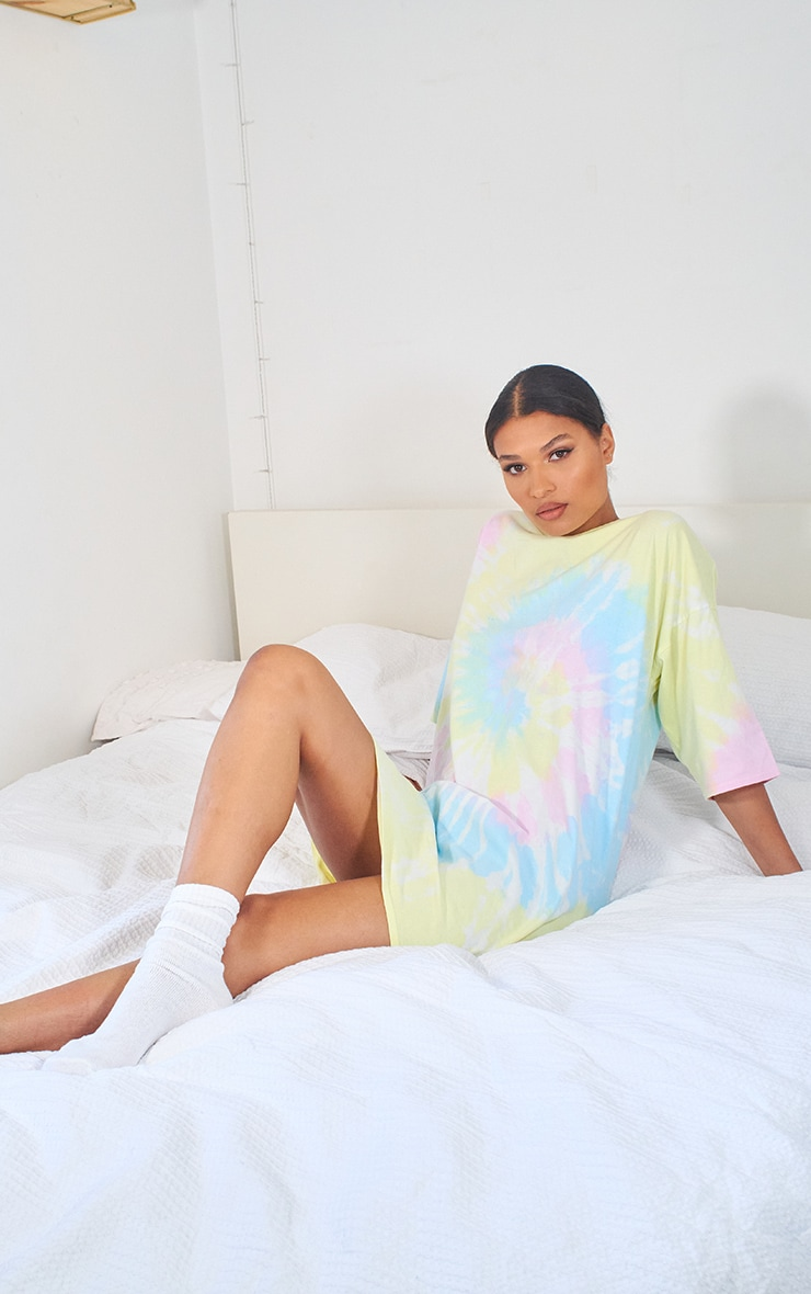 Multi Tie Dye T Shirt Boyfriend Dress 3