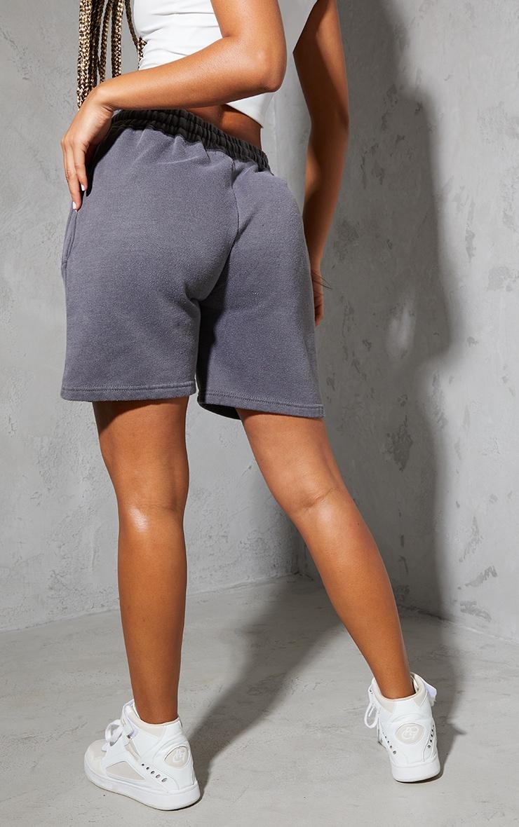 PRETTYLITTLETHING Charcoal Washed Sweat Shorts 3
