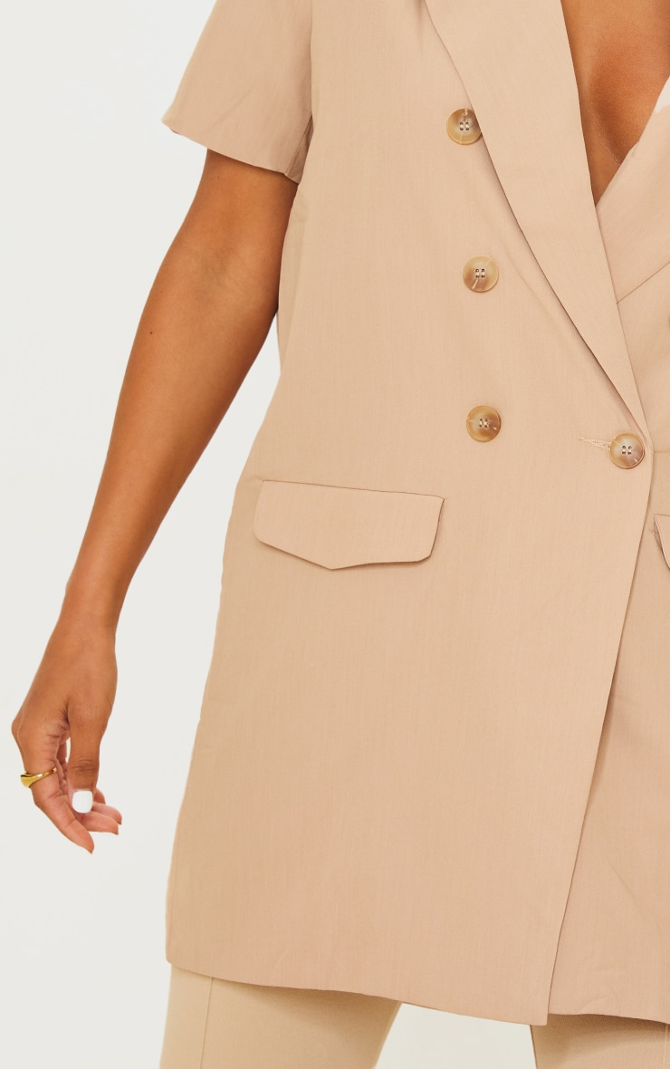 Beige Woven Short Sleeve Longline Blazer 4