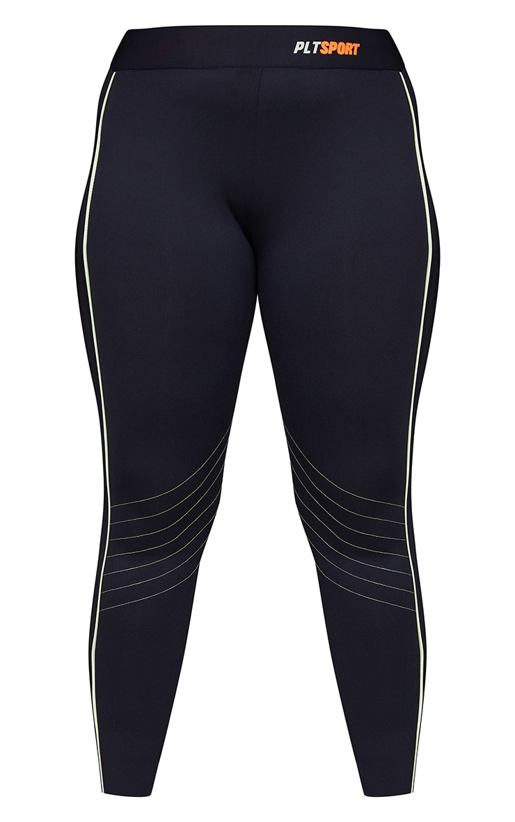 Plus Black With Lime Piping Detail Sports Leggings 5