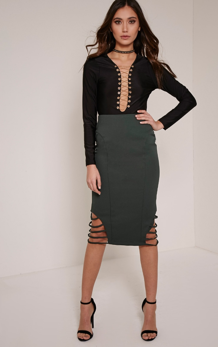 Wilow Deep Green Ladder Cut Out Midi Skirt 1