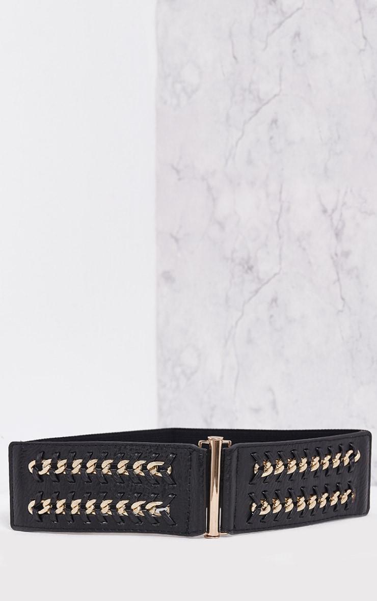 Cosma Black Chain Detail Waist Belt 3