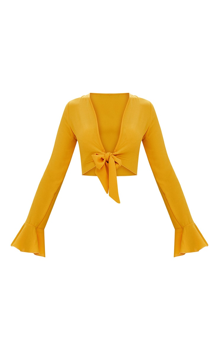 Lemon Tie Front Frill Sleeve Blouse  3