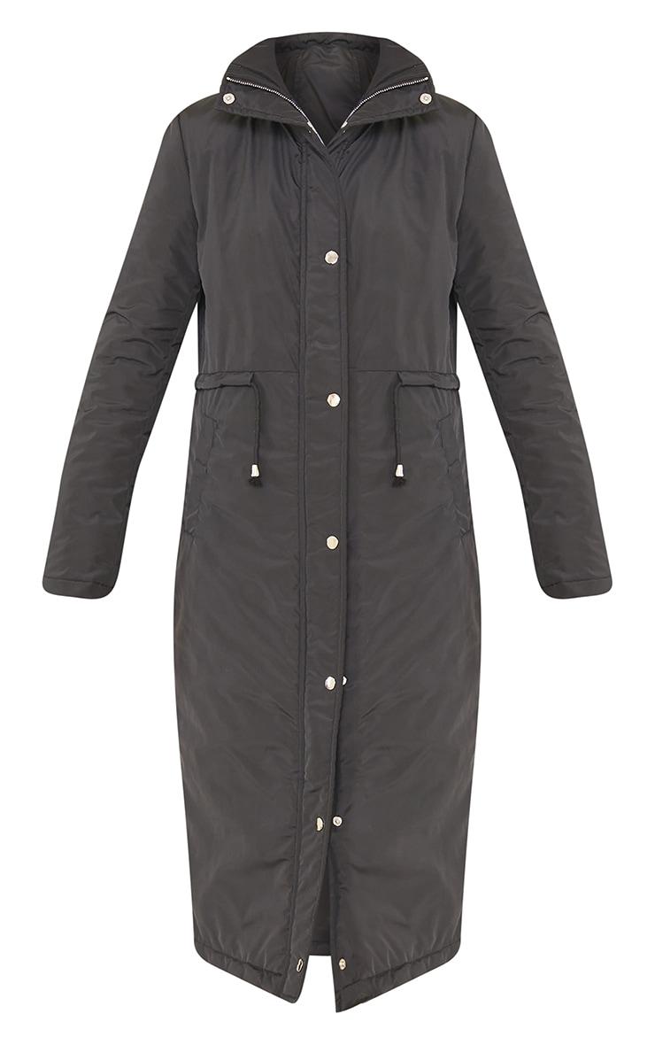 Black Nylon Toggle Waist Maxi Hooded Parka Jacket 5