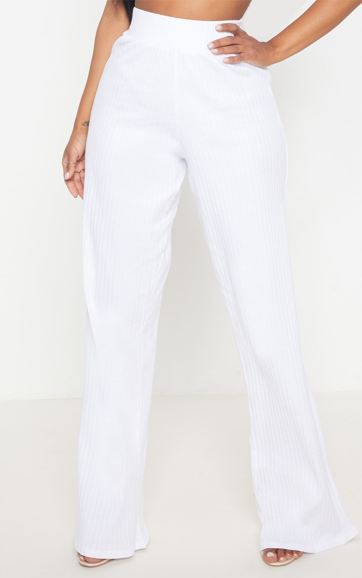 Shape White Ribbed Wide Leg Trousers 2