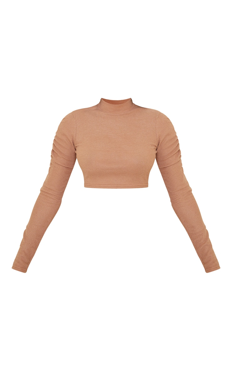 Camel Soft Brushed Rib High Neck Ruched Long Sleeve Crop Top 5