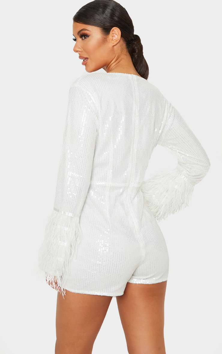 White Sequin Feather Detail Long Sleeve Playsuit 2