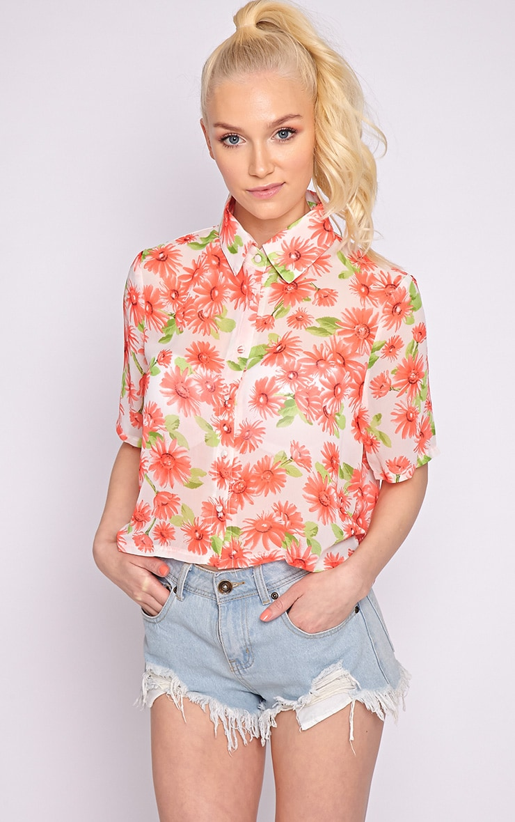 Reyna Multi Floral Cropped Shirt  2