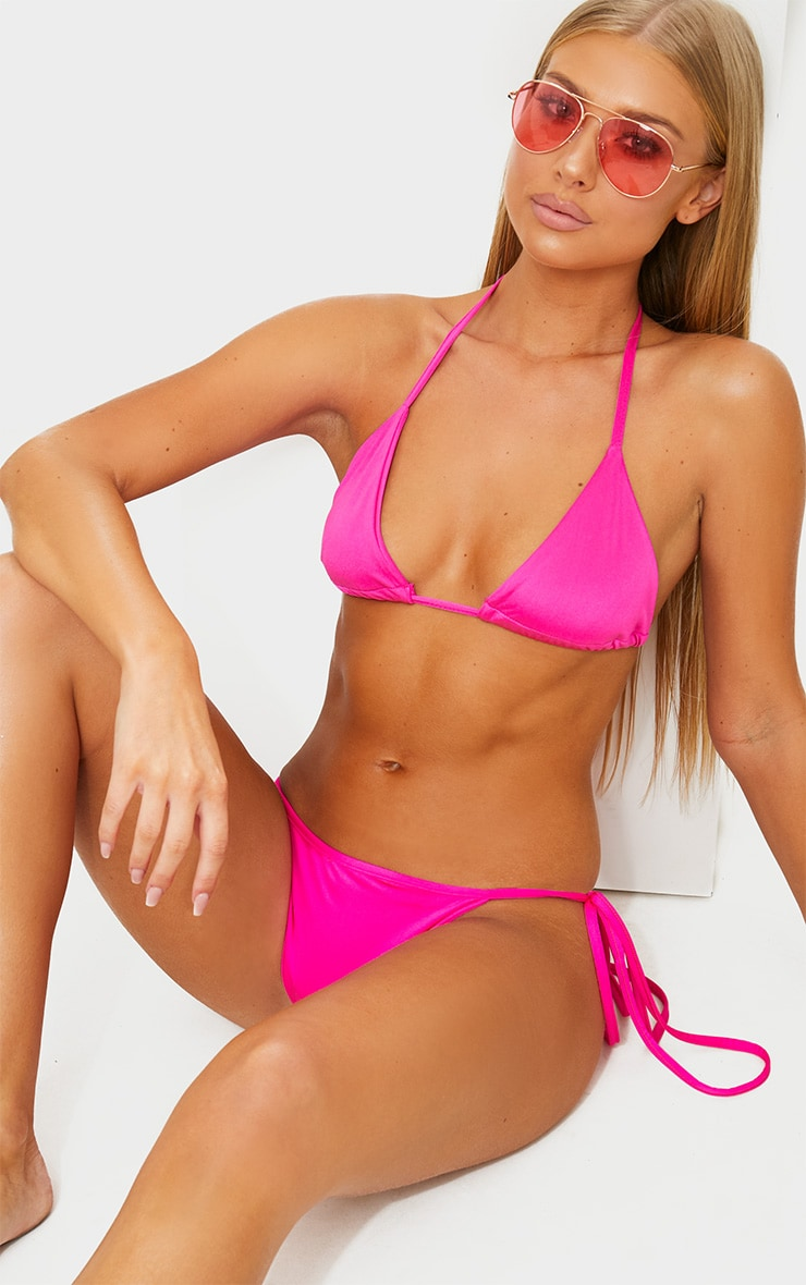 Hot Pink Mix & Match Triangle Bikini Top 1