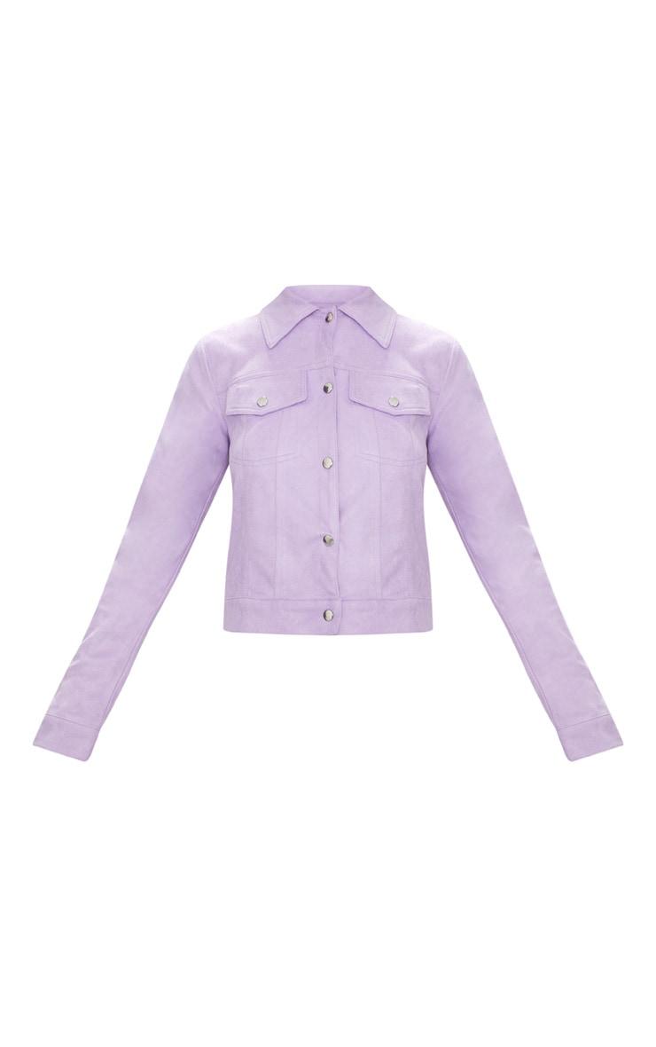 Lilac Faux Suede Trucker Jacket 3