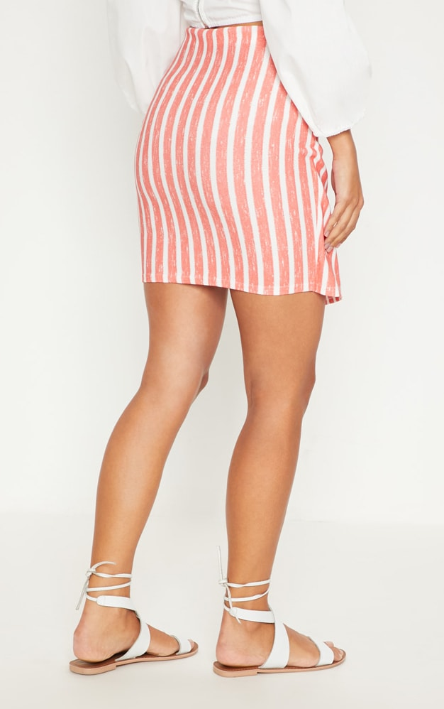 Red Wrap Over Front Stripe Skirt 4