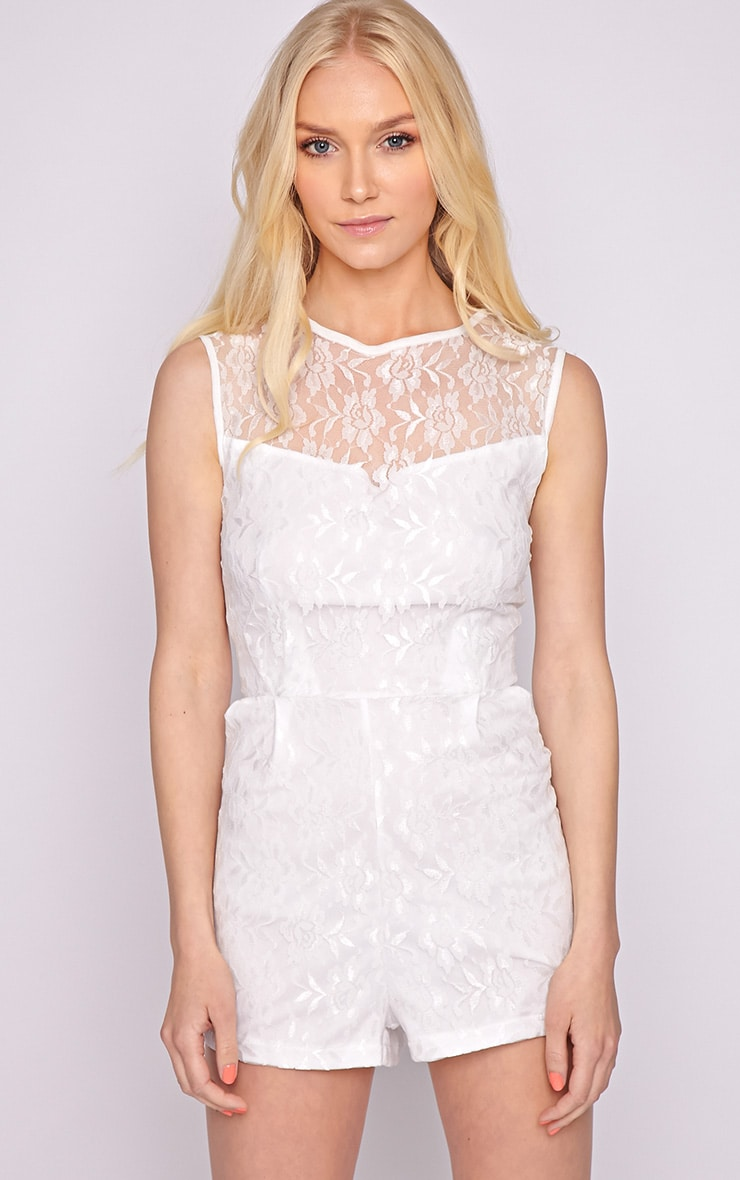 Aubree White Lace Playsuit  1