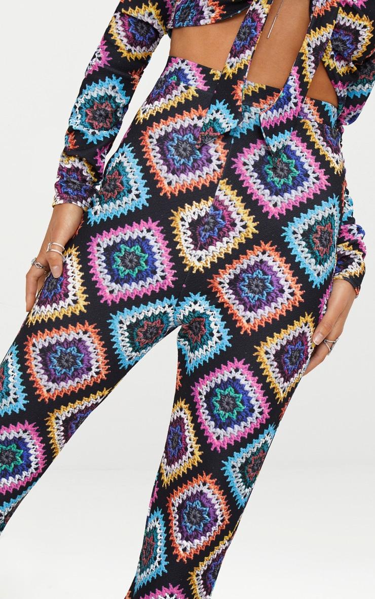 Black Printed Crochet  Flared Trousers 4