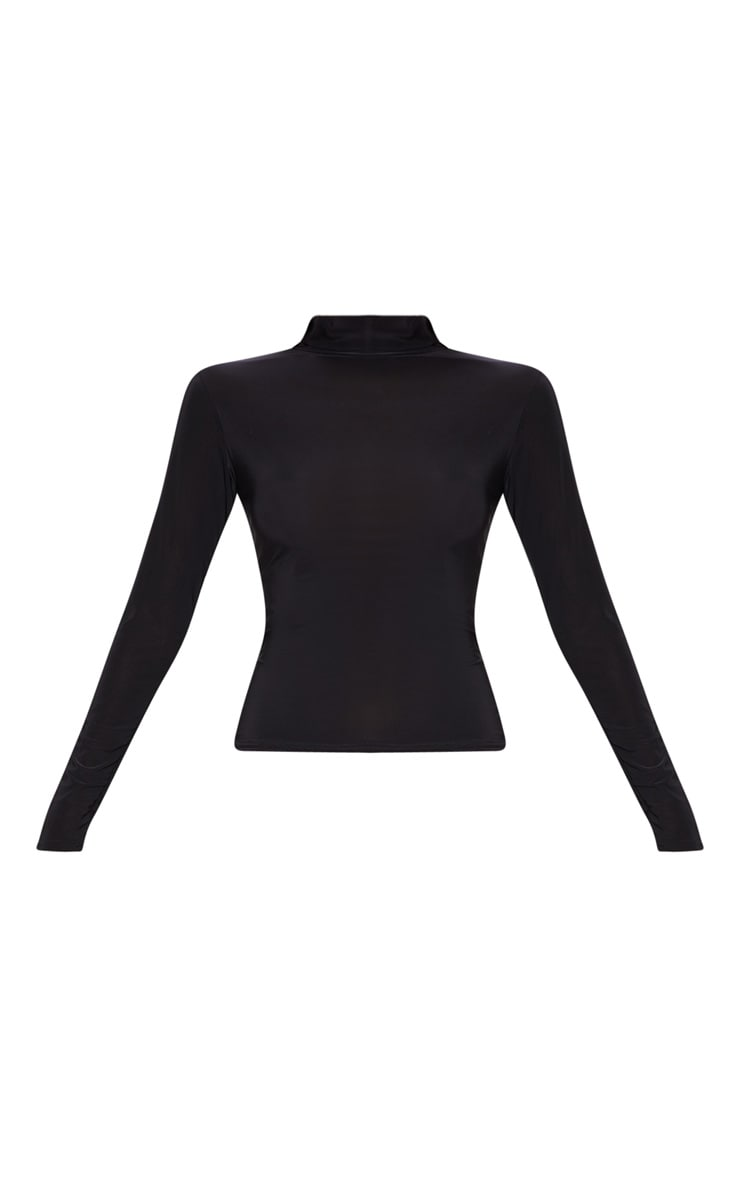 Black Long Sleeve Slinky Roll Neck Top 3